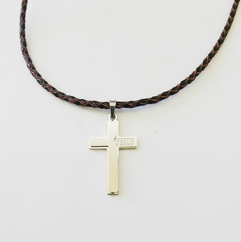 Jesus Embossed Cross Necklace - Neckwear - Rebelroad.co.za
