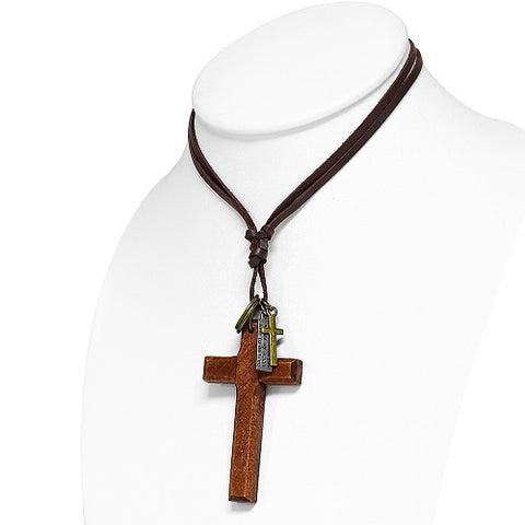 Large Wooden Cross Charm Brown Leather Necklace - Neckwear - Rebelroad.co.za