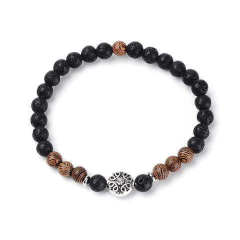 Lava and Wood Bead Bracelet - Bracelets - Rebelroad.co.za