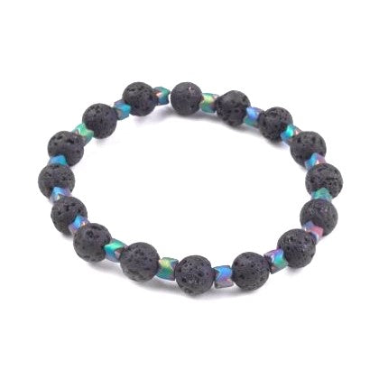 Lava & Multi-Color Hematite Bead Bracelet