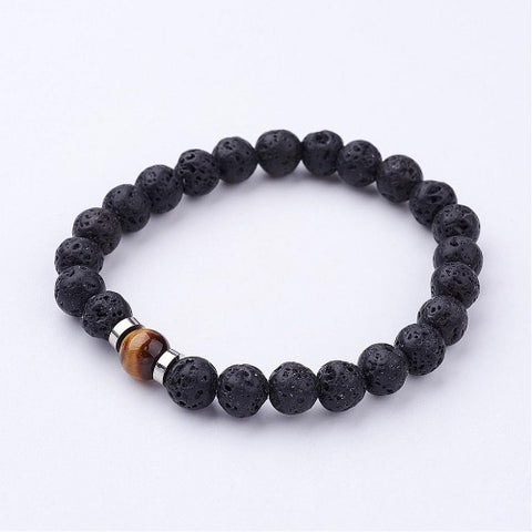 Lava with one Tiger Eye Bead Bracelet from rebelroad.co.za