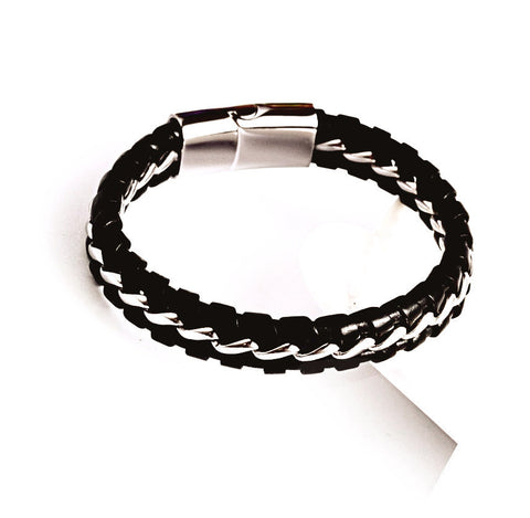 Leather & Steel Wrapped Bracelet - Bracelets - Rebel Road