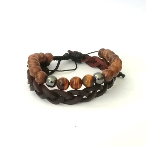 Leather & Wood Bracelet Set