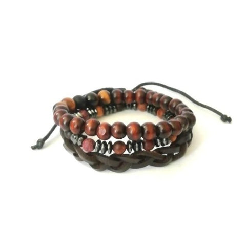 Leather and Tiger Eye with Wood Bracelet Set