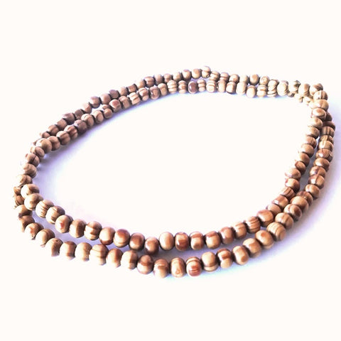 Light Brown Wood Bead Necklace Set