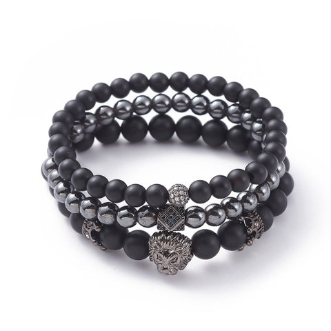 Lion & Crown Premium Bead Bracelet Set
