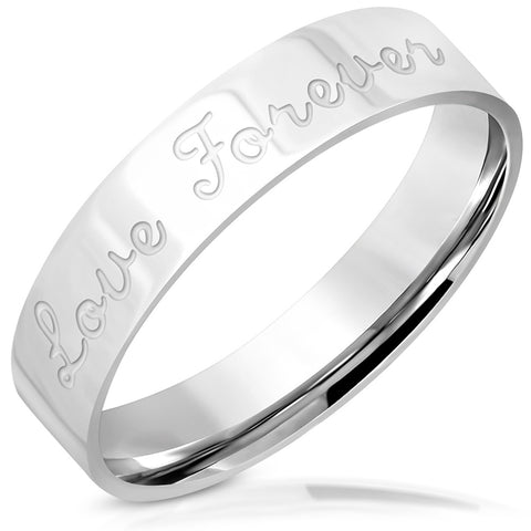 Love Forever Comfort Fit Flat Band Ring - Rings - Rebelroad.co.za