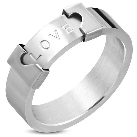 Love Monogram Apart Heart Band Ring - Rings - Rebelroad.co.za