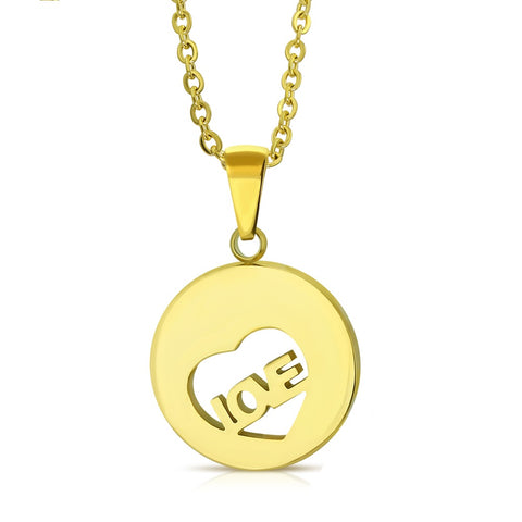 Love Monogram Circle Charm Chain Necklace - Neckwear - Rebelroad.co.za