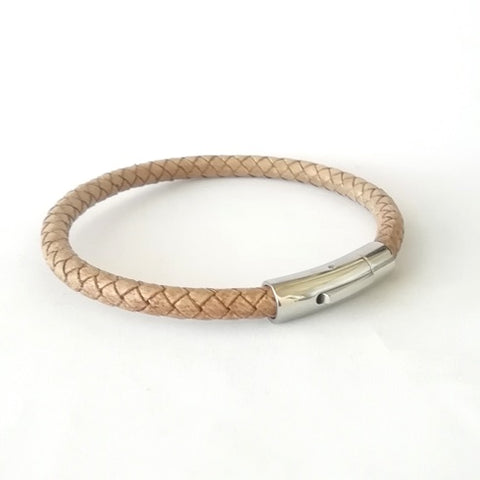 6mm Macadamia Brown Round Leather & Curved Bayonet Clasp Bracelet