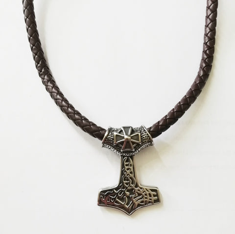 Maltese Cross Thor's Hammer Leather Necklace - Neckwear - Rebelroad.co.za