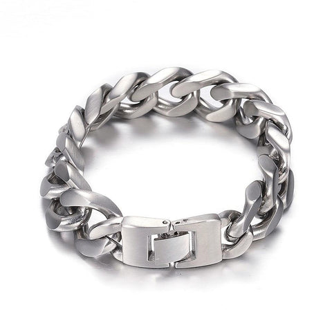 15mm Matte Curb Chain Bracelet - Bracelets - Rebel Road