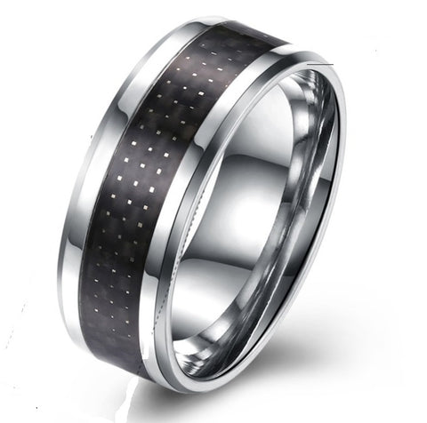 Men's Black & Titanium Wide Band Ring