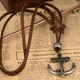 Metal Anchor Leather Necklace - Neckwear - Rebelroad.co.za
