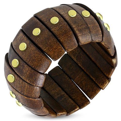 Metal Stud Wood Stretch Bangle - Bangle - Rebelroad.co.za