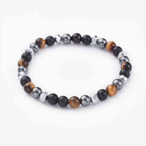 Buy this bead bracelet made from glass, Agate, non-magnetic hematite, tiger eye beads. Together they form a sophisticated ,shiny upmarket look