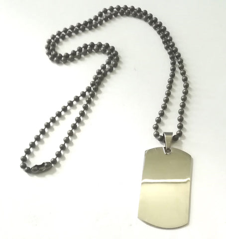 Military Tag on Ball Chain Necklace