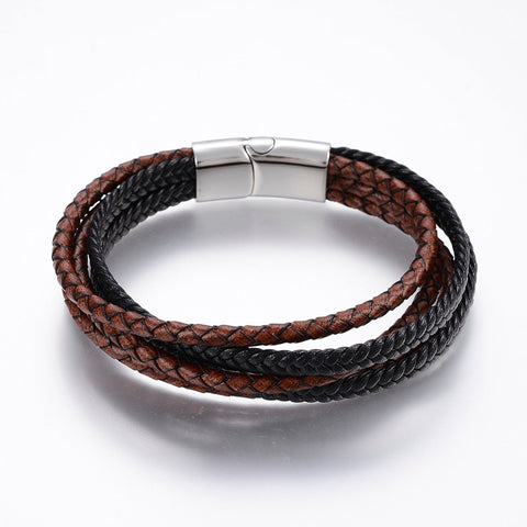 Multi Strand Black & Brown Bolo & Braided Leather Bracelet - Bracelets - Rebelroad.co.za