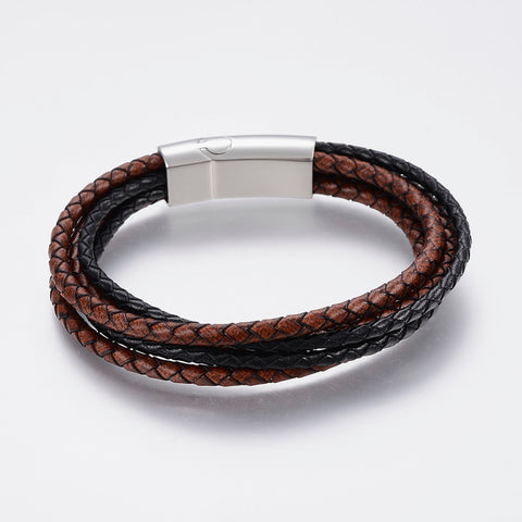 Multi Strand Black & Brown Bolo Leather Bracelet - Bracelets - Rebelroad.co.za