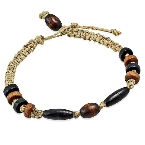 Natural Hemp Friendship and Wood Bead Bracelet