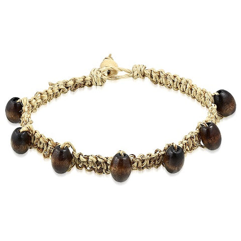Natural Hemp Friendship with Oval Wood Beads Bracelet - Bracelets - Rebelroad.co.za