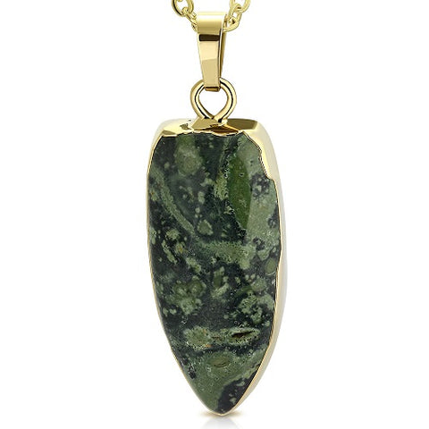 Natural Kambaba Jasper Stone Golden Pendant - Pendants - Rebelroad.co.za