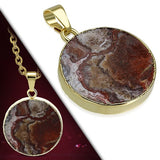 Natural Mexican Agate Stone Golden Plated Pendant - Pendants - Rebelroad.co.za