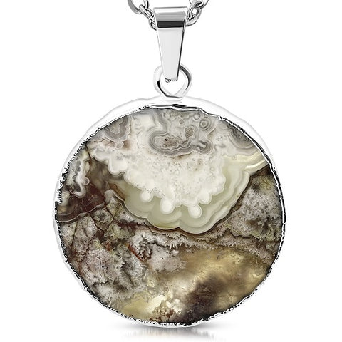 Natural Mexican Agate Stone Silver Plated Pendant - Pendants - Rebelroad.co.za
