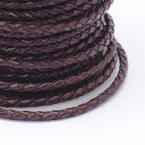 Nut Brown Braided Bolo Leather Cord -5mm - Leather Cord - Rebelroad.co.za