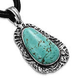 Oval Antique Turquoise Stone Necklace - Neckwear - Rebelroad.co.za
