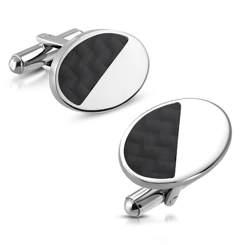 Oval Cufflinks With Carbon Fiber Inlay - Cuff Links - Rebelroad.co.za