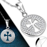 Pattee Cross Circle Charm Chain Necklace - Neckwear - Rebelroad.co.za