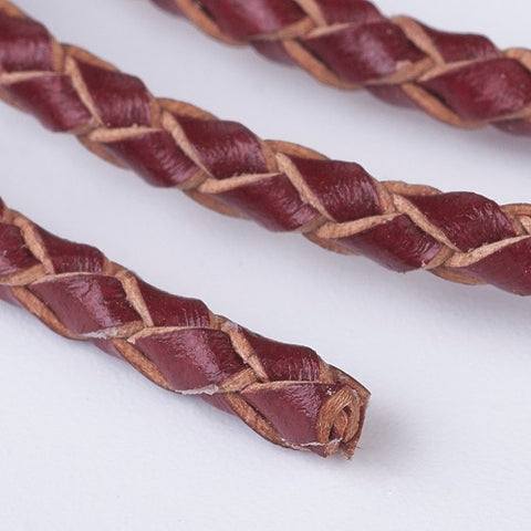 A red brown bolo braided leather cord that is 3mm thich for bracelet or necklace making available from Rebelroad.co.za in South Africa