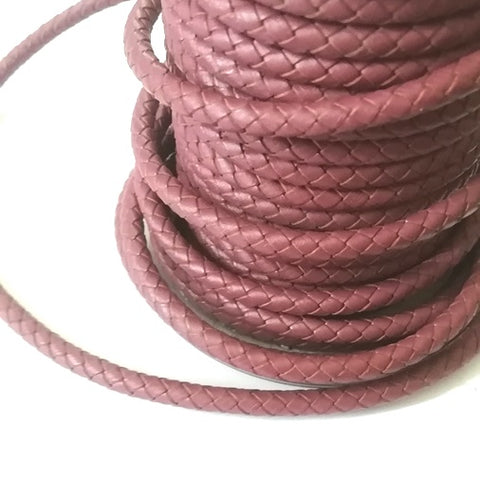 Pink Brown Braided Bolo Leather Cord -5mm
