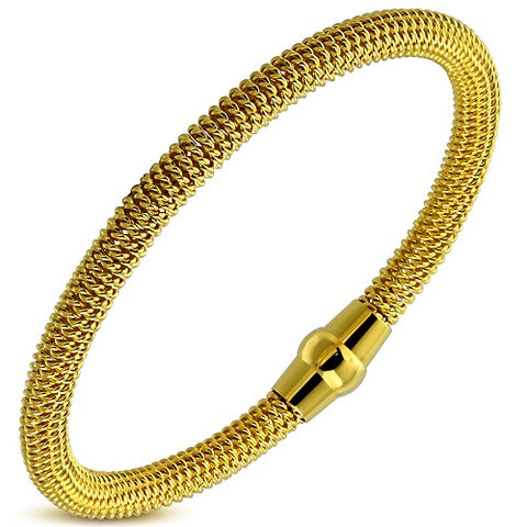 Plain Round Golden Mesh Bracelet - Bracelets - Rebel Road