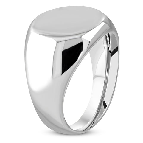 Polished Engravable Round Circle Signet Ring - Rings - Rebelroad.co.za