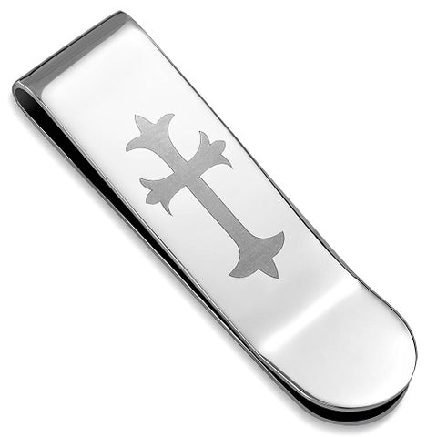 Pure Stainless Fleur De Lis Cross Business Card Wallet Money Clip - Money Clips - Rebelroad.co.za