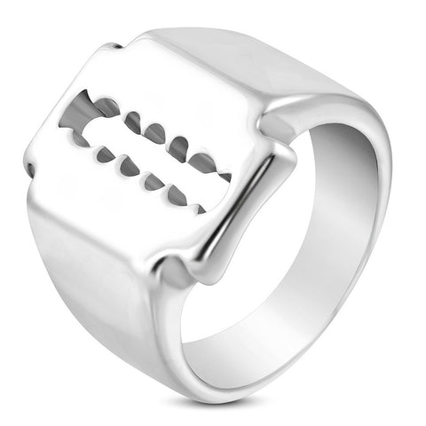 Stainless Steel Razor Blade Biker Ring - Rings - Rebelroad.co.za