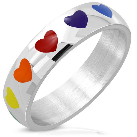 Rainbow Love Heart Half-Flat Band Ring - Rings - Rebelroad.co.za