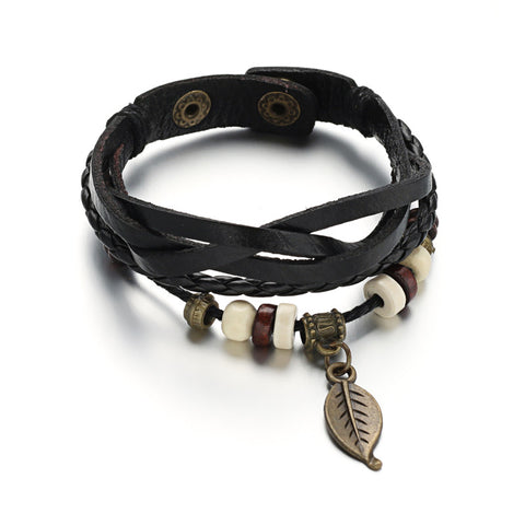 Multi Cord Leaf Bracelet - Bracelets - Rebel Road