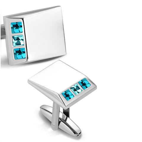 Rectangle Cufflinks With Aquamarine CZ stones - Cuff Links - Rebelroad.co.za