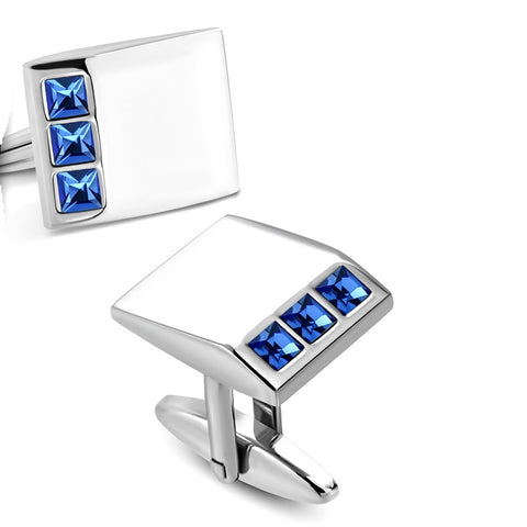 Rectangle Cufflinks With Capri Blue CZ - Cuff Links - Rebelroad.co.za