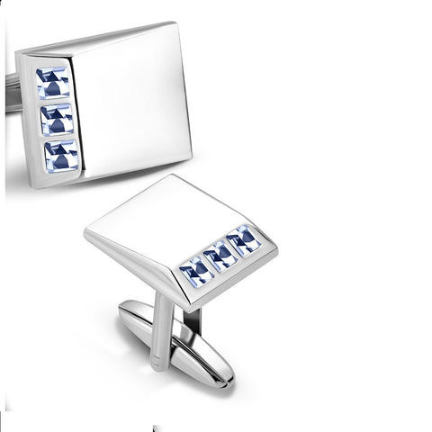 Rectangle Cufflinks With Light Sapphire CZ - Cuff Links - Rebelroad.co.za