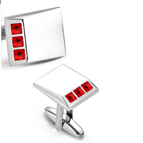 Rectangle Cufflinks With Red CZ stones - Cuff Links - Rebelroad.co.za