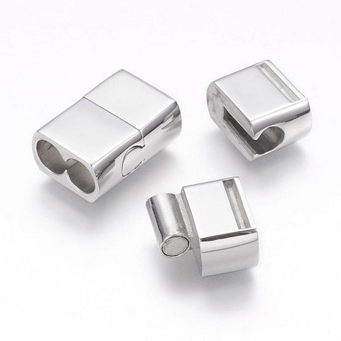 Rectangular 2 Hole Stainless Steel Slide Magnetic Clasp