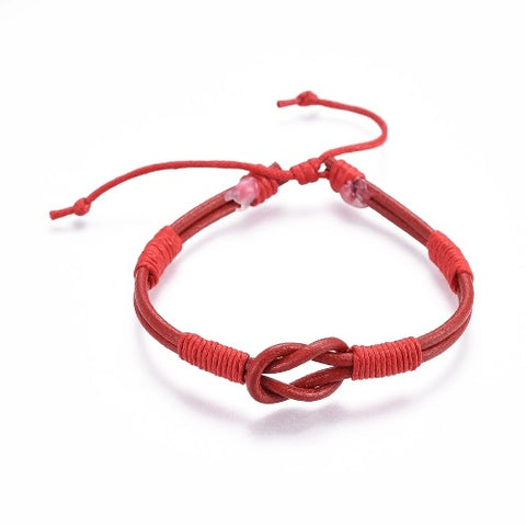 Red Leather Cord Infinity Bracelet