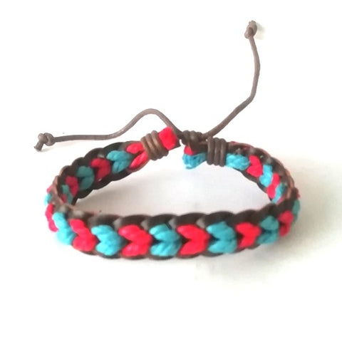 Red & Blue Leather Cotton Cord Bracelet