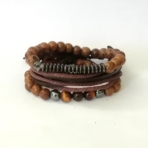 Relax Wood & Leather Bracelet Set