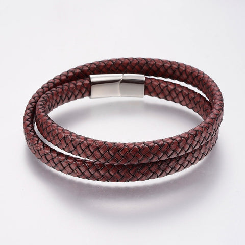 Rich Brown Braided Wrap Leather Bracelet - Bracelets - Rebelroad.co.za