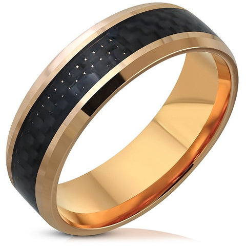 Rose Gold Plated Band Ring With Black Carbon Fiber Inlay - Rings - Rebelroad.co.za